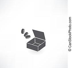boîte, pièces, icône