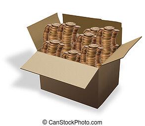 boîte, pièces.