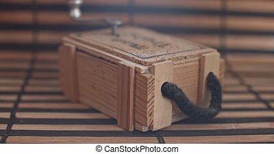 boîte, plank., peu, bois, vendange, musique, mécanique