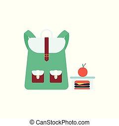 boîte, plat, école, sandwich, stands, sac, style, déjeuner, dessin animé, pomme