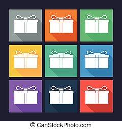 boîte, plat, cadeau, icons.