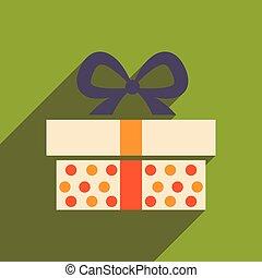 boîte, plat, cadeau, long, ombre, icône