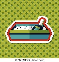 boîte, plat, chouchou, long, chat, literie, ombre, icône