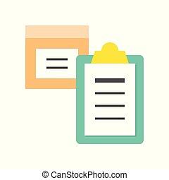 boîte, plat, concept, achats, paquet, presse-papiers, livraison, logistique, icône