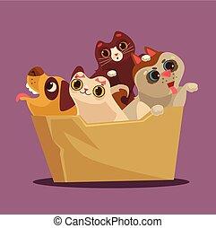 boîte, plat, concept., illustration, animals., vecteur, adoption, dessin animé