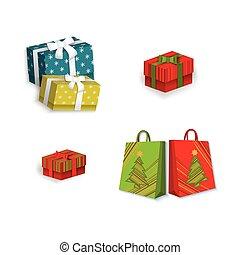 boîte, plat, ensemble, achats, sac don, vecteur, présent