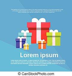 boîte, plat, ensemble, cadeau, coloré, vecteur, présent