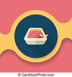 boîte, plat, eps10, chouchou, long, chat, literie, icône, ombre