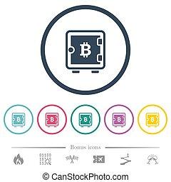 boîte, plat, icônes, couleur, bitcoin, rond, fort, grands traits