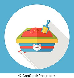 boîte, plat, literie, chat, icône