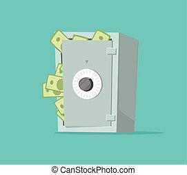 boîte, plat, ou, concept, financier, assurer, entiers, illustration, argent, sûr, protection, espèces, vecteur, dessin animé, économies, papier, dépôt, sécurité, sécurité, voûte, richesse