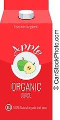 boîte, plat, pomme, paquet, solide, jus, conception, rouges,...