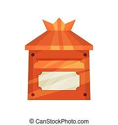 boîte, plat, postal, vecteur, mur, métal, clair, enfants, ...
