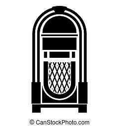 boîte, plat, style, concept, couleur, vendange, image, illustration, juke-box, vecteur, musique, retro, automatisé, appareil, noir, juke, jouer, icône
