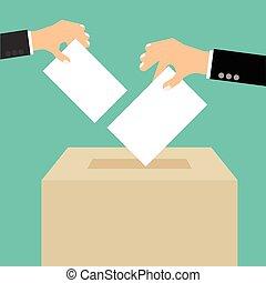boîte, plat, style, concept, -, main, papier, mettre, vote, ...