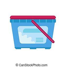 boîte, plat, style, plastique, laver, icône