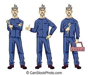 boîte, plombier, ou, tenue, illustration, monteur, projection, isolé, haut, arrière-plan., clé, vecteur, pouces, mécanicien, blanc, gesture., outillage, homme
