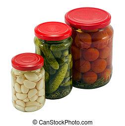 boîte, pot, pot, verre, concombre, ail, tomates