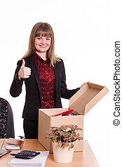 boîte, pouce, bureau, projection, derrière, bureau, girl