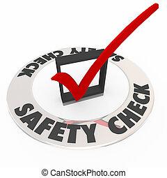 boîte, précaution, chèque, revue, marque, sécurité, sécurité