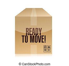 boîte, prêt, mouvement, conception, illustration