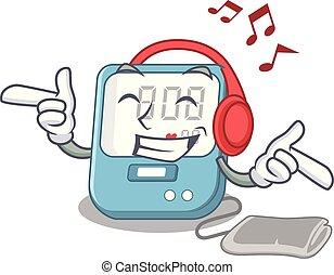 boîte, pression, musique, sanguine, écoute, médecine, dessin animé