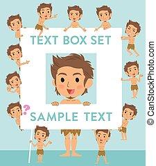 boîte, primitif, texte, style, loincloth, homme