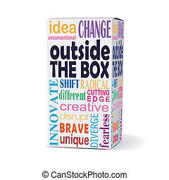 boîte, produit, dehors, mots