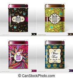 boîte, produit, ensemble, package., text., vecteur, quatre, products., endroit, thé, conception, ton