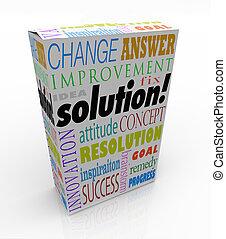 boîte, produit, fermé, étagère, solution, idée, réponse, nouveau