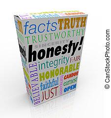 boîte, produit, honnêteté, virtues, digne confiance, réputation, sincérité