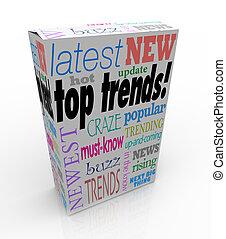 boîte, produit, newest, paquet, sommet, idées, chaud, tendances, populaire, dernier