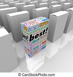 boîte, produit, stands, avantage, étagère, compétitif, mieux...