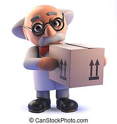 boîte, prof, scientifique, livraison, carboad, fou, tenue, dessin animé, 3d