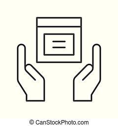 boîte, protéger, concept, achats, paquet, mains, livraison, icône, logistique, tenue, marchandises, ton