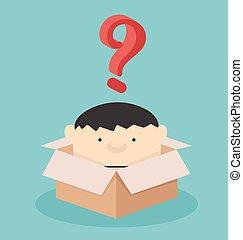 boîte, question, hommes affaires, marque