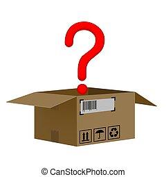 boîte, question, isolé, marque, fond, blanc