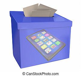 boîte, réaction, illustration, téléphone portable, comments, suggestion, appareil, nouveau, intelligent, 3d