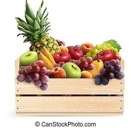 boîte, réaliste, composition, fruits