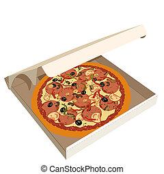 boîte, réaliste, illustration, pizza