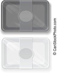 boîte, récipient, nourriture, jeûne, vecteur, noir, blanc