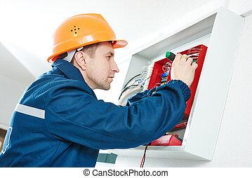 boîte, réparation, électricien, tournevis électrique, fusible, actionneur, commutation