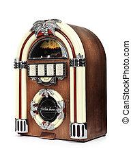 boîte, radio, retro, juke