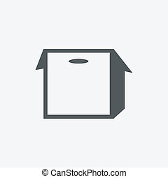 boîte, rainure, icône
