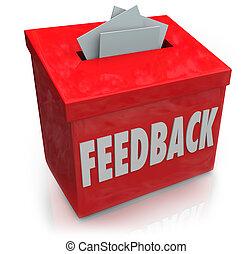 boîte, ramassage, réaction, idées, suggestion, pensées