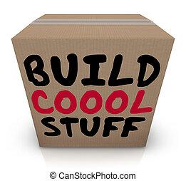 boîte, remplir, faire, frais, inventer, projet, matériels, illustration, 3d, outils, construire