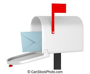 boîte, render, enveloppe, courrier, ouvert, 3d
