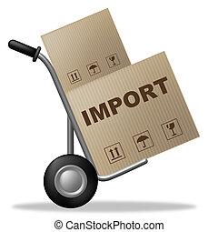 boîte, représente, paquet, expédition, importation, carton