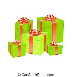 boîte, ribbon., arc don, vecteur, rouges
