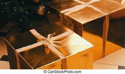 boîte, ribbon., cadeau, or, couleur, mall., arbre, boîtes,...
